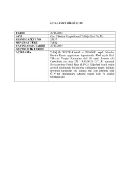 AÇIKLAYICI BİLGİ NOTU TARİH 26/10/2014 SAYI Özel Tüketim