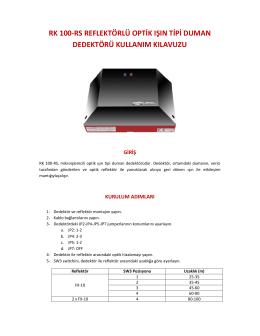 RK100-RS Işın Tipi Duman Dedektörü Kullanım Kılavuzu