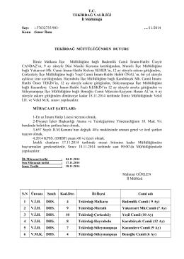 11/2014 Konu :Sınav İlanı TEKİRDAĞ M