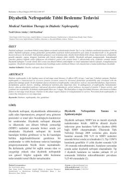 Diyabetik Nefropatide Tıbbi Beslenme Tedavisi