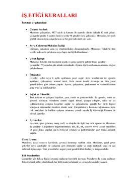 iş etiği kuralları - Menderes Tekstil AS