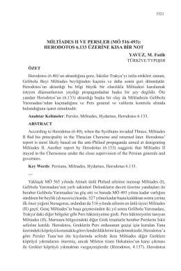 MİLTİADES II VE PERSLER (MÖ 516-493): HERODOTOS
