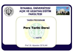 TARİH PROGRAMI Prof. Dr. Alpaslan CEYLAN