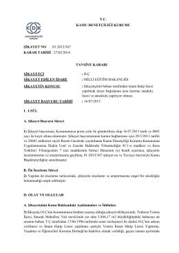 T.C. KAMU DENETÇİLİĞİ KURUMU ŞİKAYET NO :01.2013/367