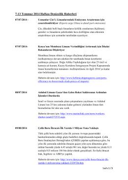 7-13 Temmuz 2014 Haftası Denizcilik Haberleri