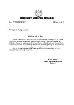 Genelge No: 37/2014 - Kamu Hizmeti Komisyonu