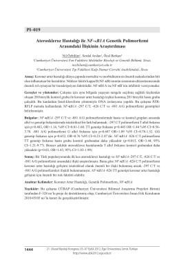 Ateroskleroz Hastalığı ile NF-κB1A Genetik Polimorfizmi Arasındaki