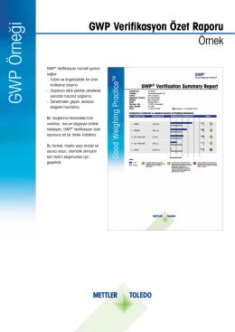 Specimen: GWP® Verifikasyon Özet Raporu
