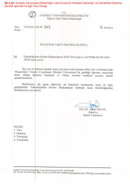 Ek-2 - anadolu üniversitesi eczacılık fakültesi