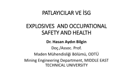 patlayıcılar ve isg explosıves and occupatıonal safety and health