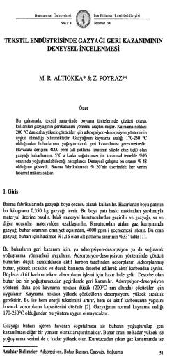 TEKSTİL ENDÜSTRİSİNDE GAZYAĞı GERİ KAZANıMININ