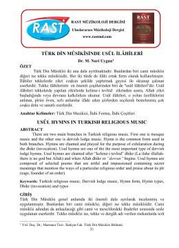 Türk Din Mûsikîsinde Usûl İlâhileri. Rast Müzikoloji Dergisi, 2(2)