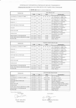 Sınav Programı 2014-2015 GÜZ - Gümüşhane Meslek Yüksekokulu