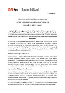 9 Mayıs 2014 TÜRKİYE KOÇ FEST ÜNİVERSİTE SPOR OYUNLARI