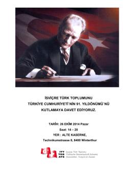 isviçre türk toplumunu türkiye cumhuriyeti`nin 91. yıldönümü`