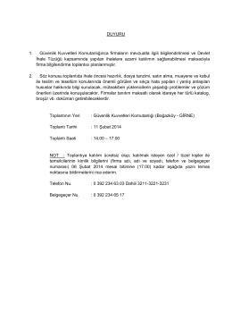 DUYURU 1. Güvenlik Kuvvetleri Komutanlığınca firmaların