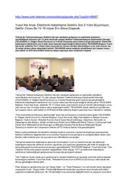 Yusuf Ata Arıak: Elektronik Haberleşme Sektörü Son 5