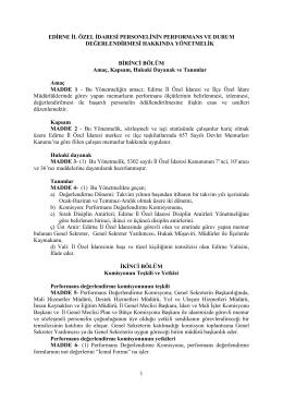 1 edġrne ġl özel ġdaresġ personelġnġn performans ve durum