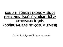 Halit Suiçmez – Türkiye Ekonomisinde (1987