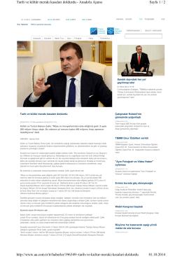 Tarih ve Kültür Merakı Kasaları Doldurdu(01.10.2014 Anadolu Ajansı)