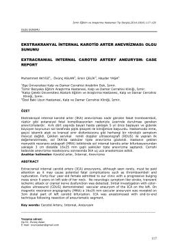 ekstrakranyal internal karotid arter anevrizması: olgu sunumu