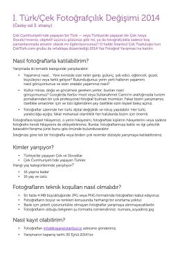 I. Türk/Çek Fotoğrafçılık Değişimi 2014