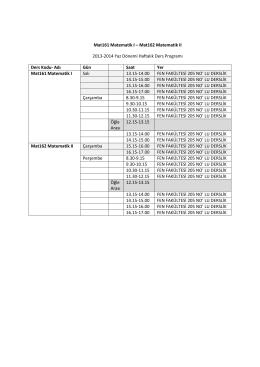 Mat161 Matematik I – Mat162 Matematik II 2013