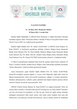 18 Mayıs Hemşireler Haftası - İstanbul İl Sağlık Müdürlüğü