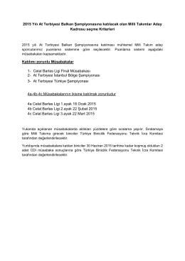 2015 At Terbiyesi Balkan Şampiyonası Milli Takımlar Aday Kadrosu