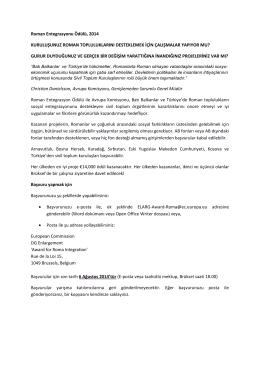 Roman Entegrasyonu Ödülü, 2014 KURULUŞUNUZ ROMAN