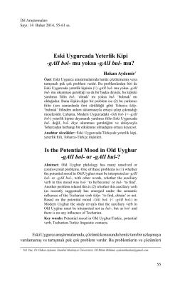 Eski Uygurcada Yeterlik Kipi -gAlI bol- mu yoksa
