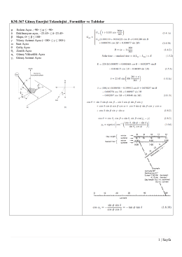 KM-367 Güneş Enerjisi Teknolojisi , Formüller ve Tablolar 1 | Sayfa