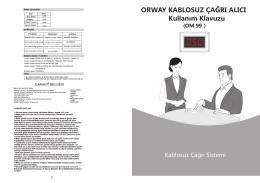 om-99 kullanma klavuzu - Kablosuz Çağrı Sistemleri