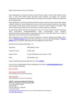Marie Sklodowska Curie Bireysel Araştırma Bursları 2014 Cağrısı