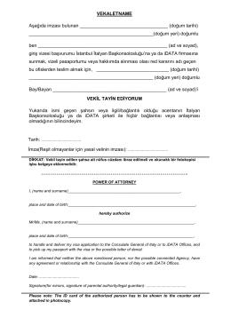 VEKALETNAME Aşağıda imzası bulunan (doğum