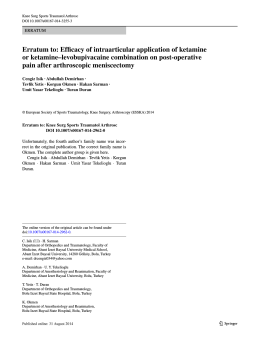 Erratum to: Efficacy of intraarticular application of ketamine or