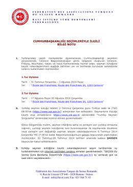 Cumhurbaskanligi seçimleri - bilgi notu - 2