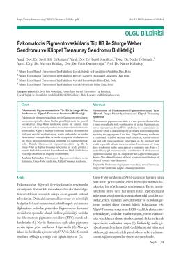 Fakomatozis Pigmentovaskülaris Tip IIB ile Sturge