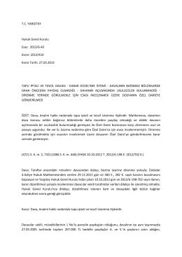 T.C. YARGITAY Hukuk Genel Kurulu Esas: 2013/6