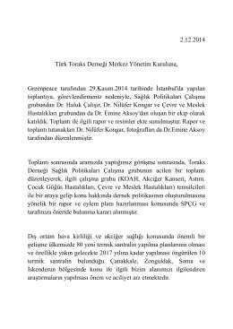 2.12.2014 Türk Toraks Derneği Merkez Yönetim Kuruluna