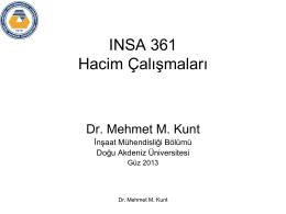 INSA 361 Hacim Çalışmaları
