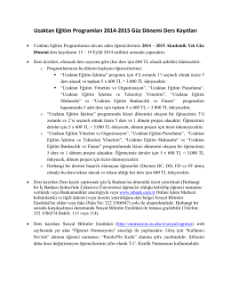 Uzaktan Eğitim Programları 2014-2015 Güz Dönemi Ders Kayıtları