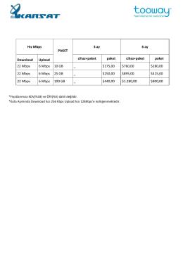 Hız Mbps PAKET 3 ay 6 ay Download Upload cihaz+paket paket