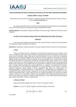 genelleştirilmiş fractıonal integraller için feng qı tipli integral