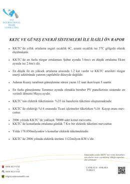 kktc ve güneş enerji sistemleri ile ilgili ön rapor