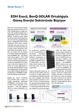 EDH Enerji, BenQ-SOLAR Ortaklığıyla Güneş Enerjisi Sektöründe