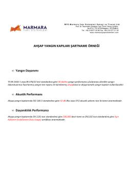 Şartname Örneği (pdf) - Marmara Yapı Sistemleri