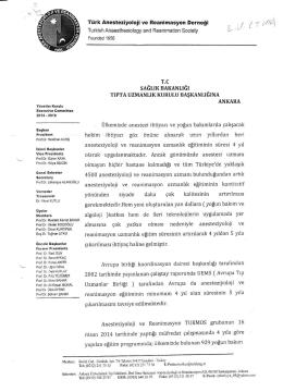 Türk Anesteziyoloji ve Reanimasyon Derneği başvurusu