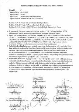Aydınlatma Komisyon Kararları Eylül 2014 İçin Tıklayınız