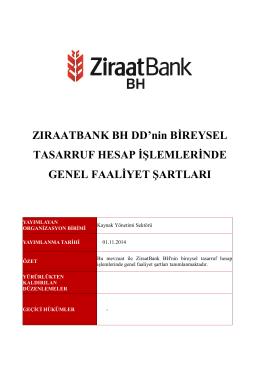 ZiraatBank BH d.d. Bireysel tasarruf hesap islemlerinde genel